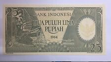 1964 Indonesia 25 rupiah prefix PAE 006583  banknote very scare  Unc!