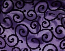 "PURPLE TAFFETA WITH BLACK VELVET FLOCKING 60"" WIDE 1 YARD"