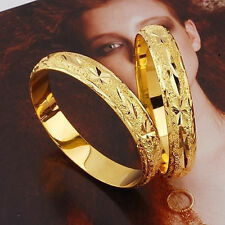 2pcs Womens 24k Yellow Gold Filled Carved Bangle Bracelet 60mm*10mm