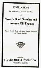 Stover Gas Engine Motor Horizontal Vertical 1.5 3 6hp Hit Miss Book Manual CT K