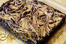 "☆Sweet & Chewy☆Peanut Butter Swirled Dark Chocolate Fudge Brownies ""RECIPE""☆"