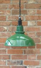 "16"" Green Thorlux Industrial Vintage Enamel Factory Pendant Lamp/Light REWIRED"
