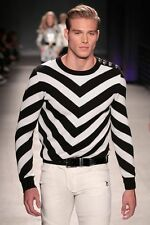 BNWT BALMAIN x H&M Black White Jacquard Knit Stripes Monochrome Jumper Sweater M