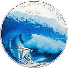 2010 Palau Large Color Silver $5 Surfing
