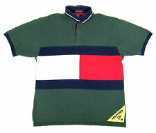 90S VTG TOMMY HILFIGER SAILING GEAR BIG USA FLAG LOGO POLO RUGBY SHIRT LOTUS 92