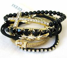 NEW GUESS 5PC SET GOLD TONE MESH+BLACK+CRYSTAL RHINESTONE CROSS STRETCH BRACELET