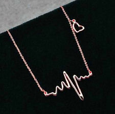 ROSE GOLD PLATED HEART BEAT ECG NECKLACE