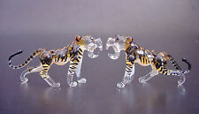 2 Tiny Glass Baby TIGERS, Stripy Cats, Colourfully Painted Animals, Ornaments