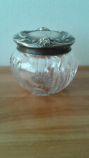 JAR Powder Jar Antique Edwardian Crystal and Silver , Late 1800's/Early 1900's