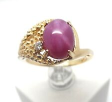 14K YELLOW GOLD RUBY LINDY STAR AND DIAMOND RING