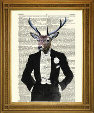 WHITE TIE DINNER PARTY DEER: Vintage Stag Human Animal Dictionary Page Art Print
