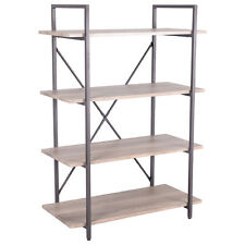 4 Tiers Bookcase Metal and Wood Storage Shelf Display Organizer Home Furniture