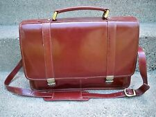 Vtg Wilsons Leather Double Gusset Shoulder Messenger Lawyer Bag Briefcase Case