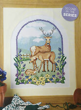 CROSS STITCH CHART Deer Family and Bluebells Picture Animal Design PATTERN ONLY