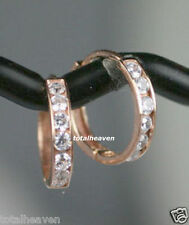 TINY 9mm Small Solid 14K Pink Rose Gold CZ Huggies Hoop Earrings SPARKLY GORGES