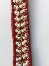 ATTRACTIVE PEARL and GOLD MAROON FABRIC RIBBON LACE TRIMMING - SOLD by METER