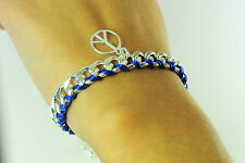 "UNISEX ""PEACE"" HIPPY BRACELET UNIQUE SILVER BLUE STATEMENT PIECE (CL9)"
