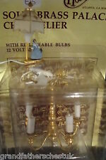 BEAUTIFUL ROOM SET 1/12th DOLLS HOUSE FURNITURE TABLE LAMP BRASS CHANDALIER BNIB