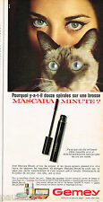 PUBLICITE ADVERTISING 055  1966  GEMEY maquillages yeux de chat mascara