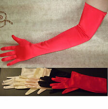 "23"" RED Stretch Satin Wedding Bridal Opera Gloves Party Prom Halloween NEW"