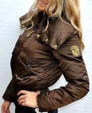 New Womens Baby Phat Down Jacket Coat Brown Satin Plus 2X