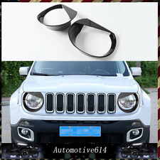 2Pcs Angry Bird HeadlampTrim Cover ABS Bezels for Jeep Renegade 2015-2016 Black