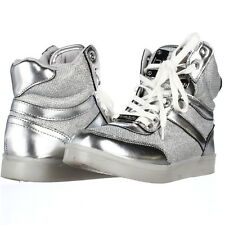 bebe Krysten High-Top Light-Up Fashion Sneakers, Silver, 5.5 M US USED