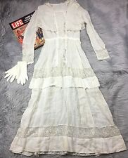 Antique Edwardian Lawn Dress Wedding Gown Sheer Lace Inserts Pin Tucks