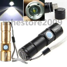 Adjustable LED Zoom 1800LM MINI USB Rechargeable Flashlight Torch Portable