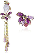 BETSEY JOHNSON 'Fall Follies' Carved Purple Flower Rose Clip-On Drop Earrings