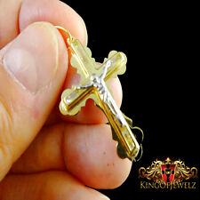 SOLID 10K REAL YELLOW GOLD CRUCIFIX JESUS CROSS CHARM PENDANT 1.65 INCH UNISEX