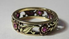 14K VINTAGE ANTIQUE ART DECO RUBY FLORAL FILIGREE WEDDING ETERNITY BAND RING
