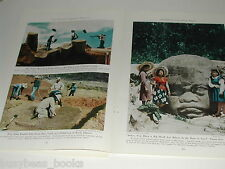 1943 magazine article, La Venta MEXICO, excavations, Olmec, with color photos
