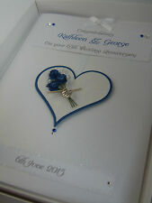 Personalised 65th Wedding Anniversary Card, Swarovski crystals, boxed