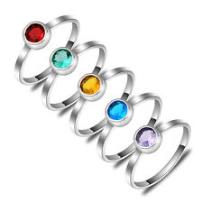10 Pcs/lot Rainbow Color Blue Red Purple Yellow Green Topaz Gems Silver Rings