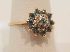 Antique Victorian aquamarine diamonds 10k rose gold ring