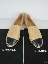 CHANEL 40 39 8.5 9 Leather Tan Black Single Sole Espadrilles CC Logo Flats EUC