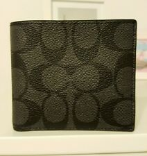 COACH Men's Signature Double Billfold Wallet Black Charcoal F75083 MSRP $150