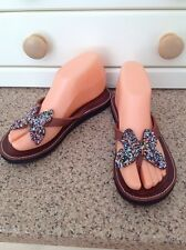 GREAT LAIDBACK LONDON BROWN LEATHER FLIPFLOPS BEADED BUTTERFLY UK SIZE 4 WORN