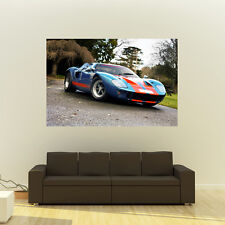 Ford GT40 Blue Right Front Giant Poster Super Car Print Huge 54x36 Inches