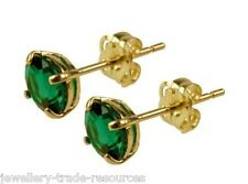 9ct Yellow Gold 5mm Round Emerald Studs Earrings