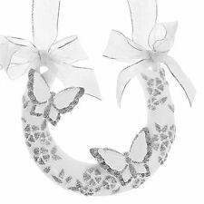 "Lucky Horseshoe - White with Silver Glitter & 2 Butterflies ""B"" for Wedding Day"
