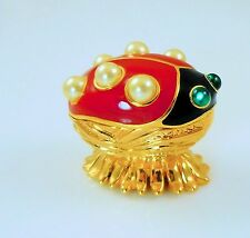 KJL Kenneth Jay Lane Critter Collection Ladybug Lane Trinket Box / Pin  NIB cert
