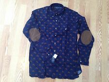 Polo Ralph Lauren big pony horse head suede leather patch navy blue shirt L