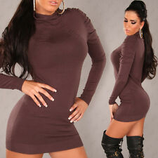 NEW SEXY TURTLNECK LONG SWEATER JUMPER WITH RUCHING BROWN SIZE 12 - 14 L/XL