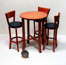 Dollhouse Miniature Round Pub Table and Cushioned Chairs