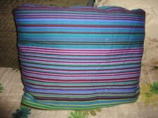 IKEA ANDREA SATIN BLUE GREEN LIME PURPLE STRIPES QUEEN DUVET COTTON 96 X 82