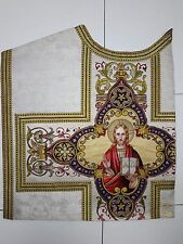 Antique French Jesus Christ Vestment Needlework Embroidered Panel 1930's