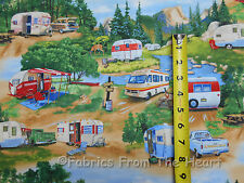 Vintage Travel Trailers Summer Campers Scenic BY YARDS Elizabeths Cotton Fabric