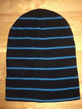 Striped Slouch Beanie H&M Ribbed Black Turquoise Knit Skull Cap Ski Hat Skate